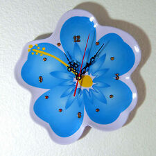 Blue Hibiscus Flower Wall Clock approx. 11 Inches Tall - New