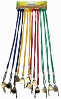 Steel Referees Sports Games Teachers Metal Whistle With Coloured Lanyard Cord