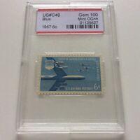 Airmail Stamp C49 1957 6c PSE Graded Gem 100 Mint OG NH Encapsulated