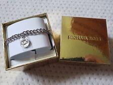 NWT Michael Kors MK logo charm with pave crystals chain bracelet MKJ7043040