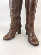 Next Size US6 37 UK4 Brown Leather Knee High Zip Up Heeled Sexy Booties Boots