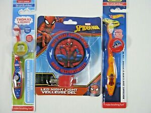 Spider-Man LED Night Light W/Hot Wheels, Thomas & Friends Tooth Brush With Caps
