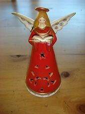 "Ceramic Angel Bell - 7"" Tall Angel with Hymnal in Burgundy & Cream"