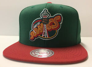 Seattle SuperSonics Mitchell & Ness NBA Snapback Hat XL Logo 2Tone Cap Sonics