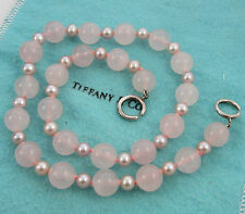 Tiffany & Co Sterling Silver Paloma Picasso 10mm Rose Quartz Pearl Bead Necklace
