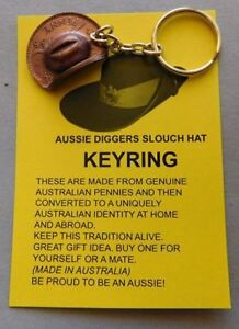 Australian penny digger trench art slouch hat keyring Anzac war coin currency