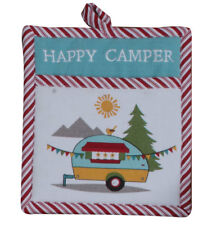 (1) Camping Life Cotton Quilted Country Cottage Kitchen Pocket Potholder