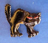 PIN Halloween Vintage CAT Black SCAREDY Enamel RED Eyes Tie Tac Hat Brooch