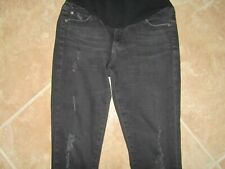 Adriano Goldschmied Maternity Jeans Size 28R Skinny Distressed Black Pull-On