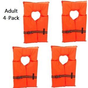 Life Jacket Vest Preserver 4 Pack Type II Orange Adult Fishing Boating USCG PFD
