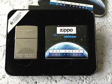 ZIPPO ONE WORLD ONE FUTURE TITANIUM PLATED NEW