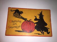 Vintage Halloween Postcard~ Witch on Broom & Black Cat -Germany-Gabriel ~ Pc10