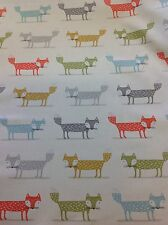 "Fryetts ""FOXY FOX "" 100% Cotton Fabric for Curtain/ Upholstery/Crafts"