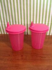 Tupperware Kids Bell Tumblers with sippy seals 7 oz Set of Two New Pink