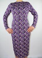 M&S Limited Edition Pencil Lavender Purple Dress Geometric Blogger Size 12 AM