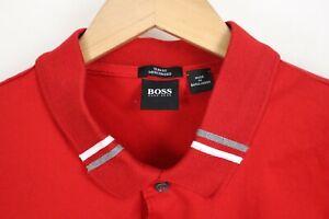 Hugo BOSS Mens sz Large Red Slim Fit Mercerised Tipped Golf Polo Shirt