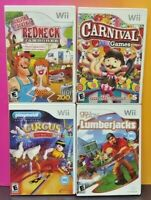 Nintendo Wii Wii U 4 Game Lot Carnival Games, Lumberjacks, Redneck Jam, Circus