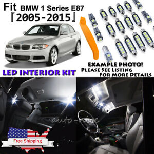 15x Error Free White LED Interior Light Kit For 2005-2015 BMW 1 Series E87 +Tool