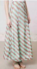 """Anupamaa """"Minted Terra Skirt"""" Striped Green Silk Maxi Skirt--S"""