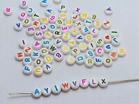 250 Assorted Color in white Alphabet Letter Acrylic Coin Beads 4X7mm