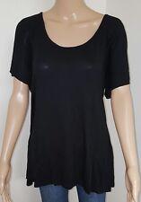 Ladies size 16 Black Evening Top Cross Back Womens Short Sleeve Detailed T-Shirt