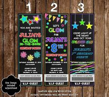 Glow In The Dark - Neon - Party Ticket Invitations - 20 Printed W/envelopes