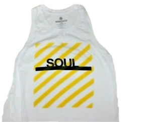 SOULCYCLE Crop Tank Top White w Yellow Stripe SOUL size XS Cotton & Tencel EUC