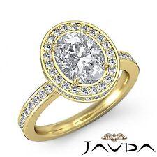 Halo Pre-Set Oval Diamond Shiny Engagement Ring GIA I VS2 18k Yellow Gold 2.32ct