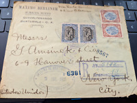 1915 Envelope sent from GUATEMALA to New York w/4 stamps (2 different)