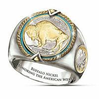 Vintage Animal Buffalo Stainless Steel Ring Men Wedding Band Jewelry Gift Sz6-13