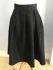H&M UK Size 10 Navy Blue Pin Tuck Flare Skirt