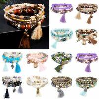 Fashion Bracelets Natural Stone Crystal Beads Heart Tassel Bangle Jewelry Set