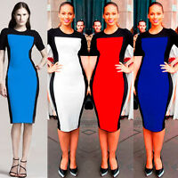 New Women's Smart Celebrity Style Casual PJD Bodycon Pencil Dress UK size 8-16