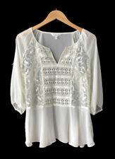 Charming Charlie Women's Size Large Ivory Sheer Crochet Blouse Boho Top