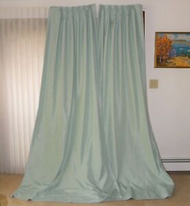 """Custom Made Drapes TWO Panels Each Lined 96""""x 23"""" SEAFOAM SAGE GREEN"""