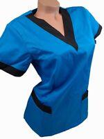New Women Nursing ScrubTurquoise Blue Black Poly/Cotton Top XS S M XL