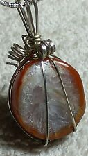 14g AGATE GEODE QUARTZ CHAKRA WIRE WRAP STERLING SILVER PENDANT NECKLACE 19""