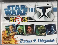 STAR WARS clone wars STAKS box nuovo con 50 bustine packs di FIGURINE MAGNETICHE