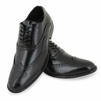 MENS SMART SHOES WEDDING ITALIAN FORMAL OFFICE WORK BROGUE BLACK DRESS  SIZE