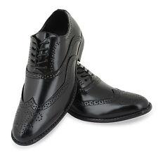 MENS SMART SHOES WEDDING ITALIAN FORMAL OFFICE WORK BROGUE BLACK DRESS  SIZE