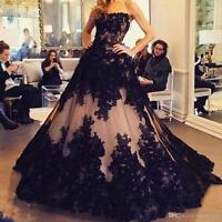 Gothic Black Lace Quinceanera Dress Ball Gown Formal Pageant Evening Prom Gowns