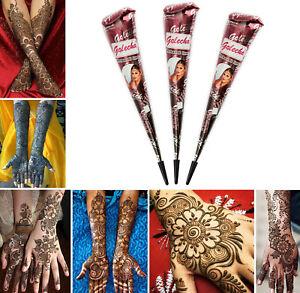 3x Golecha Naturale Henna Cono Per Mehndi/Mehandi Tatuaggio - Colore Braun - 75g