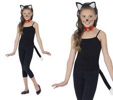 Girls Instant Cat Kit Kids Kitty Cat Fancy Dress Costume Kit One Size