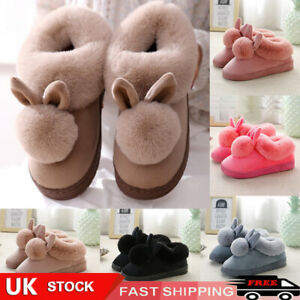 Womens Bunny Rabbit Plush Slippers Warmer Autumn Indoor Slip On Soft Home Shoes