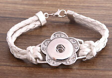 Handmade DIY rhinestone nosa white lether bracelet fit chunk snap button j3448