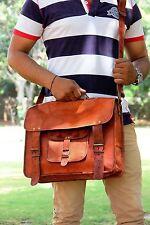 Brown Leather Messenger Bag Shoulder Laptop Bag Briefcase Men's Genuine Vintage