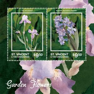 St. Vincent 2014 - Garden Flowers, Iris, Hyacinth - Sheet of 2 Stamps - MNH
