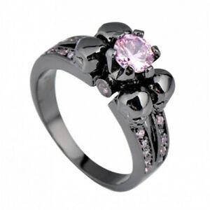 Punk Skull Rings Pink Sapphire CZ 10KT Black Gold Engagement Size 5-11
