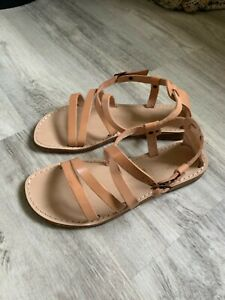 Seychelles Upcycle Strappy Beige Leather Sandals Womens 7