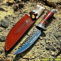 "10"" Luxury Knife Fixed Blade Hunting Tactical Survival Combat W/ Leather Sheath"